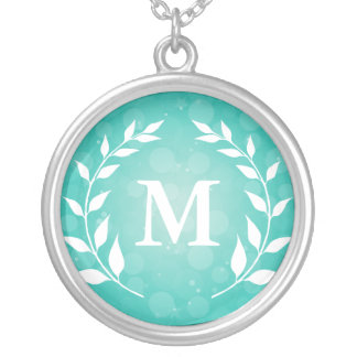 Teal Bokeh and Laurel Monogram Necklaces