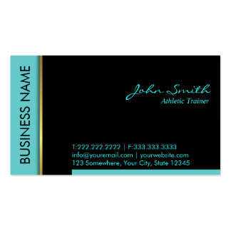 Teal Border Athletic Trainer Business Card