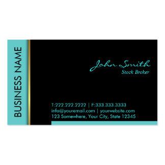 Teal Border Stock Broker Business Card