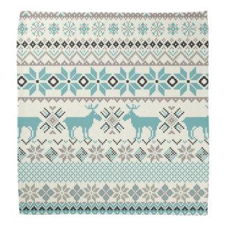Teal bronze aztec snowflakes reindeer Christmas Bandana