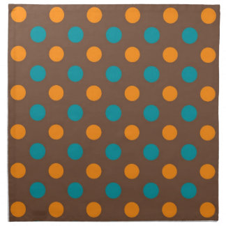 Teal, Brown, and Orange Polka Dots Napkin