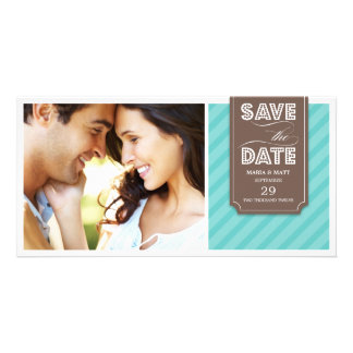 TEAL & BROWN BANNER   SAVE THE DATE ANNOUNCEMENT CUSTOMIZED PHOTO CARD