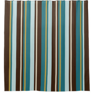 Teal Brown Beige And Gold Vertical Stripes Shower Curtain