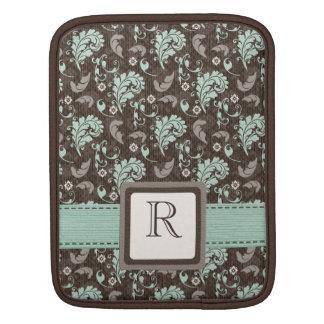 Teal Brown Damask iPad Sleeve