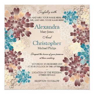 Teal Brown & Ivory Flowers Retro Wedding 13 Cm X 13 Cm Square Invitation Card