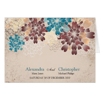 Teal, Brown & Ivory Flowers Retro Wedding Place Note Card