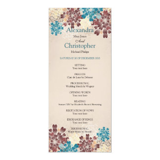 Teal, Brown & Ivory Flowers Retro Wedding Program 10 Cm X 24 Cm Invitation Card