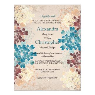 Teal Brown & Ivory Flowers Retro Wedding S2 11 Cm X 14 Cm Invitation Card