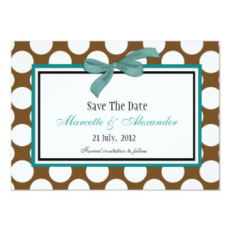 TEal Brown Polka Dot Save The Date Personalized Invitation