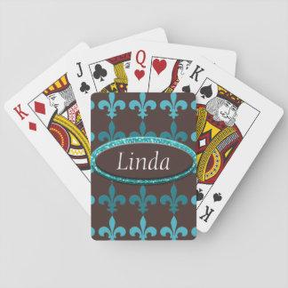 Teal & Brown Winter Fleur De Lis Monogram Playing Cards