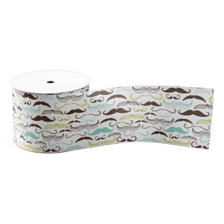 Teal, Brown & Yellow Mustaches Grosgrain Ribbon