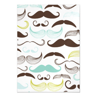 Teal, Brown & Yellow Mustaches Magnetic Invitations