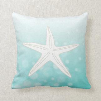 Teal Bubbles Starfish Beach House Pillow