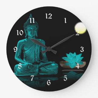 Teal Buddha Meditating Under Full Moon Large Clock