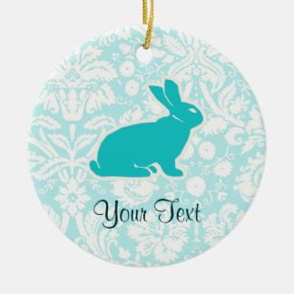 Teal Bunny Christmas Ornament