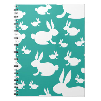 Teal Bunny Pattern Notebooks