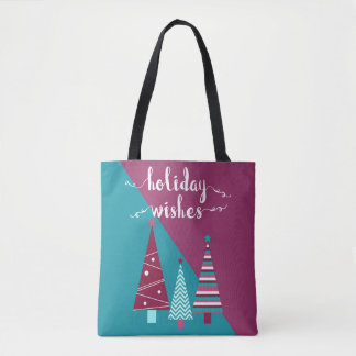 Teal Burgundy Holiday Wishes Christmas Trees Tote