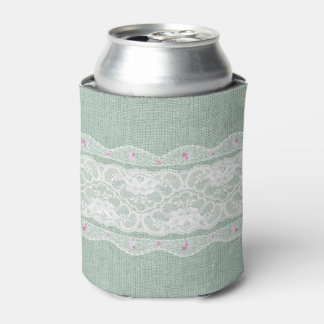 Teal Burlap and Lace Can Cooler