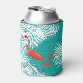 Teal Burlap with Pink Flamingos Can Cooler