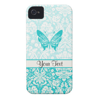 Teal Butterfly; Damask Pattern Case-Mate iPhone 4 Case