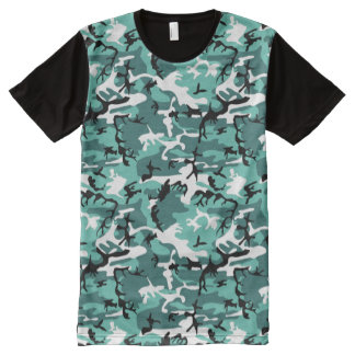 Teal Camo All-Over Print T-Shirt