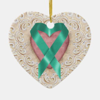 Teal Cancer Ribbon From the Heart - SRF Ceramic Heart Decoration