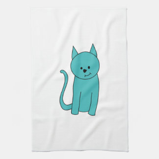 Teal Cat. Tea Towel