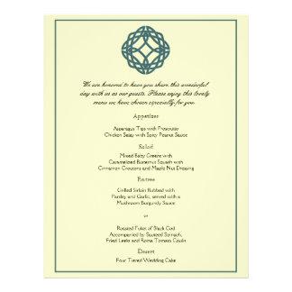 Teal Celtic Eternity Knot Wedding Menu Flyer Design