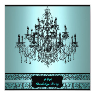 Teal Chandelier Any Number Birthday Party 13 Cm X 13 Cm Square Invitation Card