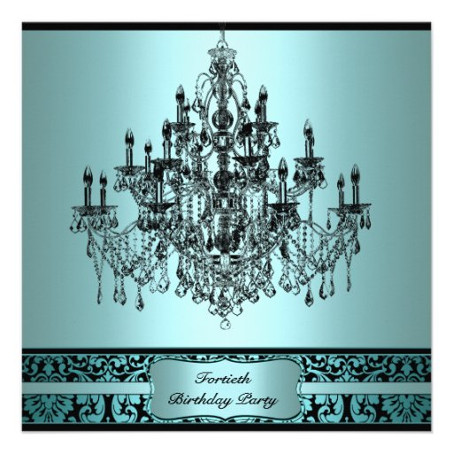Teal Chandelier Black Damask 40th Birthday Invitat Personalized Invitations
