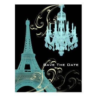 Teal Chandelier Paris Wedding SaveTheDate Postcard