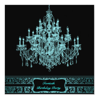 Teal Chandelier Womans 40th Birthday Party 13 Cm X 13 Cm Square Invitation Card