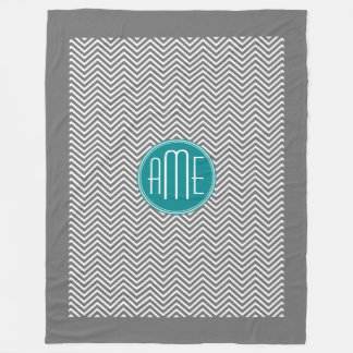 Teal Charcoal Chevrons Custom Monogram Fleece Blanket