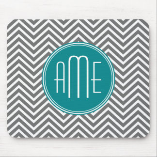 Teal Charcoal Chevrons Custom Monogram Mouse Mat
