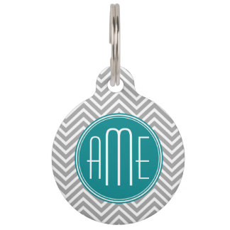 Teal Charcoal Chevrons Custom Monogram Pet ID Tag
