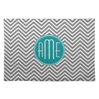 Teal Charcoal Chevrons Custom Monogram Placemat