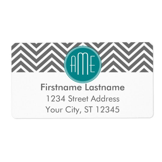 Teal Charcoal Chevrons Custom Monogram Shipping Label