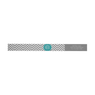 Teal Charcoal Chevrons Custom Monogram Wrap Around Label