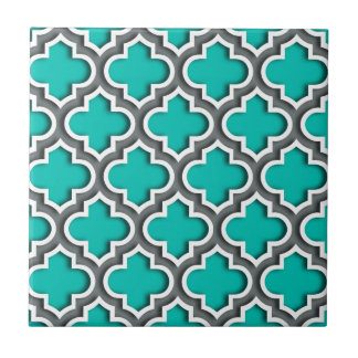 Teal Charcoal Gray White Moroccan Quatrefoil #5DS Tile