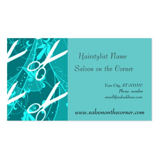 Teal Charming Fantasy Scissors Business Card Templates