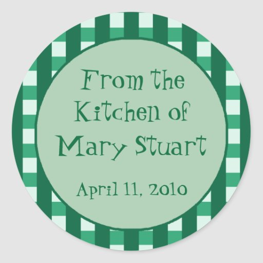 Teal Checkered Border Canning Label Stickers