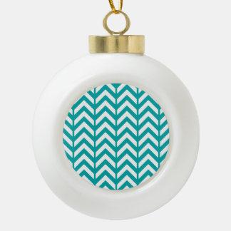 Teal Chevron 3 Ceramic Ball Christmas Ornament
