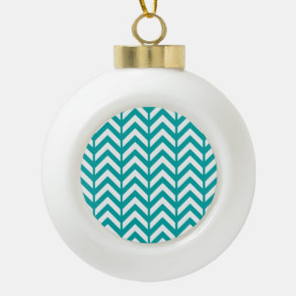 Teal Chevron 3 Ceramic Ball Decoration