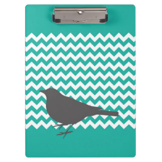 Teal Chevron Bird - Clipboard