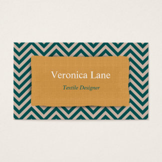 Teal Chevron Fabric Look Business Card