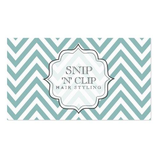 Teal Chevron Filigree Stripes Hair Stylist Cards Business Card Templates