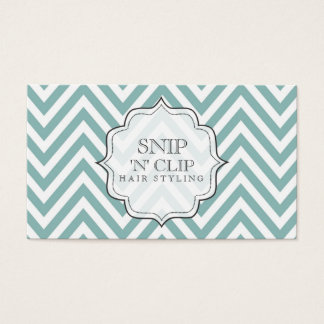 Teal Chevron Filigree Zig Zag Hair Stylist Cards