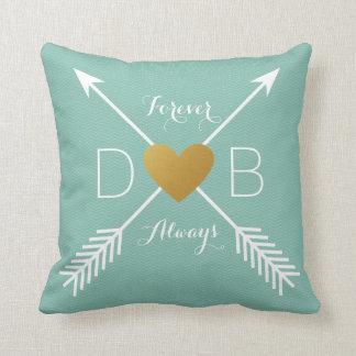 Teal Chevron Gold Heart White Arrows Initials Throw Cushions