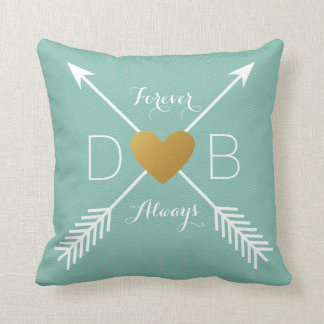 Teal Chevron Gold Heart White Arrows Initials Throw Pillow