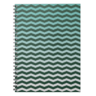 Teal Chevron Ombre Spiral Notebook